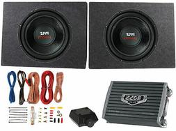 "2) PYLE 12"" 3200W Car Subwoofers PLPW12D +2 Ch Amplifier +Am"