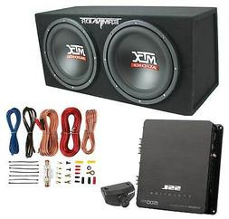 """MTX 12"""" 1200W Dual Loaded Car Audio Subwoofers with Box Encl"""