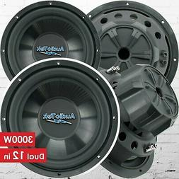 Pair of Audiotek 12 Inch 3000 Watt Car Audio Subwoofer with