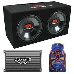 "Renegade RXV1202 12"" 1200W Dual Car Subwoofers + Box + 1500W"